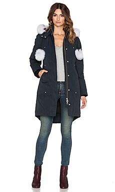 Moose Knuckles Stirling Natural Fox Fur Parka Jacket in Navy & White