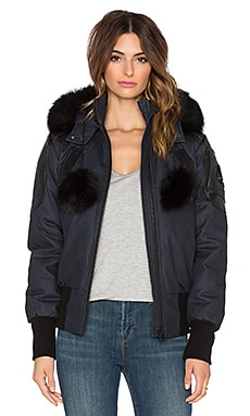 Moose Knuckles Ladies Denim & Blue Fox Fur Bomber Jacket in Indigo Dark Denim