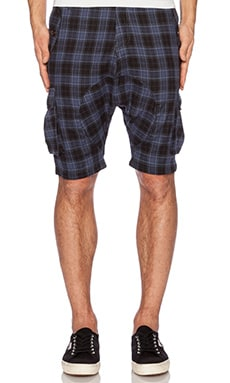 Mostly Heard Rarely Seen Regiment Harem Shorts in Blue Plaid