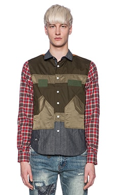 Mostly Heard Rarely Seen Army Nylon Pockets Button Down in Mixed
