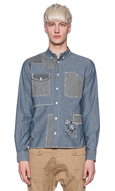 Mostly Heard Rarely Seen Patched Square Denim Button Down in Blue