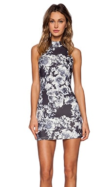 Motel Kori Funnel Neck Dress in Grey Scale Floral