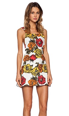 Motel Nadine Pinafore Dress in Ochre Museum Floral
