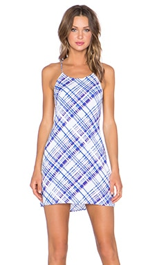 Motel Winnie Dress in Blue 70's Plaid