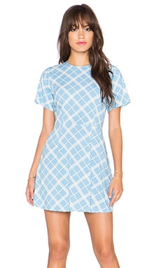 Motel Amber Mini Dress in Sky & Uniform Plaid