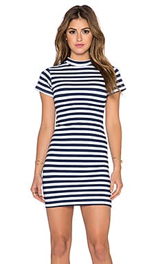 Motel Mindy Mini Dress in Bretton Navy Stripe
