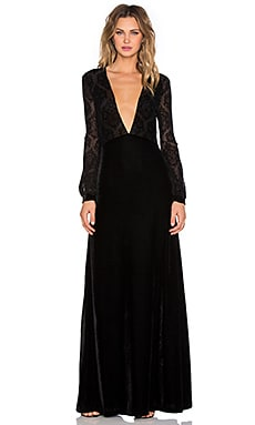 Motel 70S Femme Dress in Black Lace Flocking