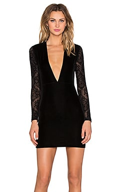 Motel Meli Lace Dress in Black Lace Flocking