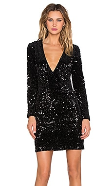 Motel Meli Dress in Black Iridescent Sequin