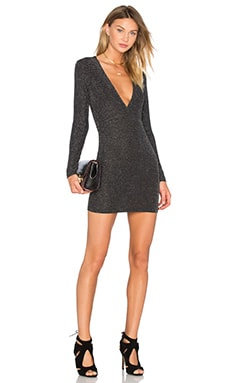 Motel Lynette Dress in Silver Lurex