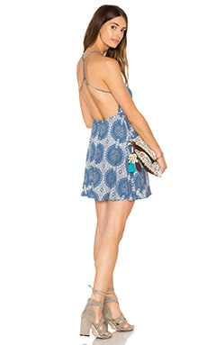 Motel Mahogani Dress in Blue Moonface