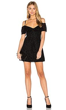 Erika Slip Dress in Black Flocked Star