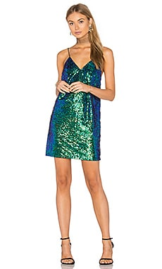 Corsica Dress in Green Iridescent Sequin