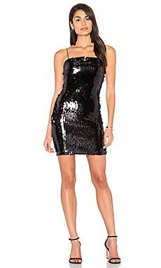 Nervosa Dress in Black Sequin Fishcale Medium