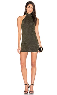 Forbes Dress en Black Gold Metallic Rib Knit
