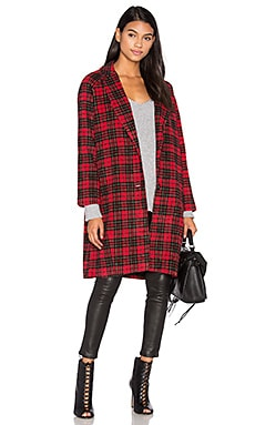 Ernest Coat in Red Black Wool Check