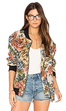 Bomber Jacket in Iced Rose Tapestry