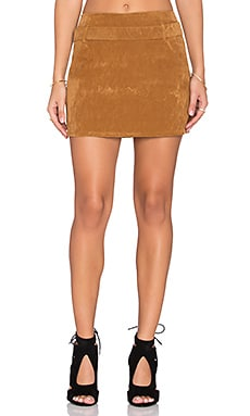 Motel Nadia Skirt in Tan Suede