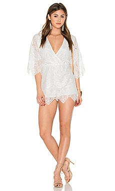 Giola Romper in Ivory Scallop Lace
