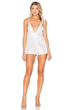 Motel Ibla Romper in Silver High Rise Shimmer