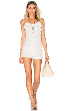 Tibi Romper en White Flower Chain Lace