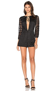 Bevall Romper in Black Chevron Lace