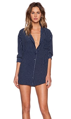 Motel His Shirt in Navy Pinstripe