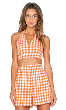 Motel Cara Top in Orange Prairie Gingham