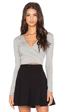 Motel Wrap Long Sleeve Top in Grey Marl