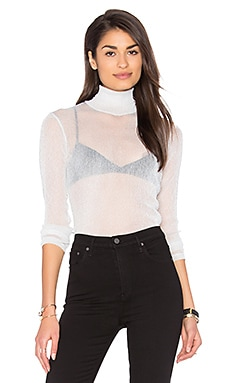 Hazel Rollneck Top in Silver Sheer Glitter Knit