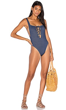 Motel Everette One Piece Swimsuit in Denim Look