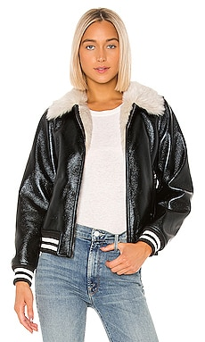 The Faux Fur & Vegan Leather Moto Jacket MOTHER $277
