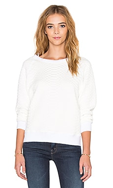 MOTHER Tipping The Scales Square Quilted Sweatshirt in White