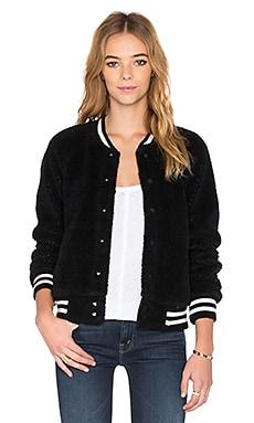 MOTHER Letterman Snap Jacket in Black
