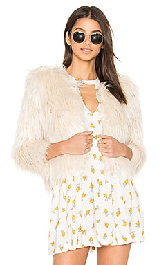 The Boxy Faux Fur Jacket in Ivory