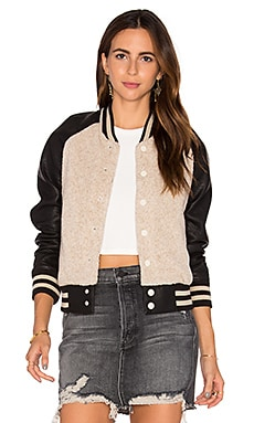 MOTHER Letterman Bomber Jacket in Feeling Good