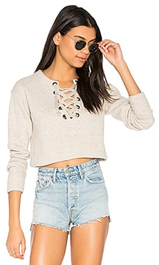 The Tie Up Easy Crop Sweatshirt in Beige