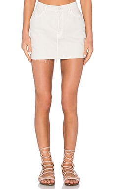 MOTHER The Vagabond Fray Mini Skirt in Bleached Bone