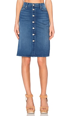 MOTHER High Waist Button Midi Skirt in Blue Moon