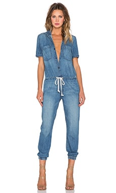 MOTHER Short Sleeve Jumpsuit in Porch Swings & Picket Fences