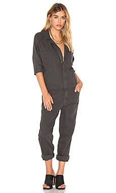 MOTHER Zipper Riveter Jumpsuit in Charcoal