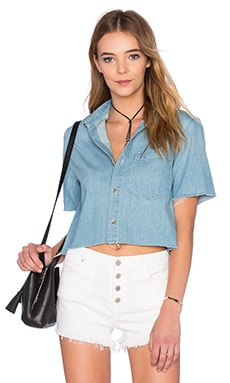 The Frenchie Crop Fray Button Up