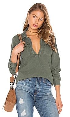 MOTHER Frenchie Frenchie Slipover Top in Military Green