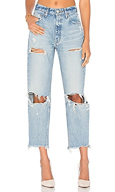 Moussy Distressed Straight in Light Blue