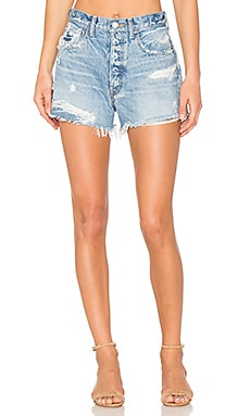 Distressed Cut Off Short in Light Blue