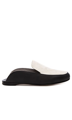 Mara & Mine Jadey Calf Hair Mule Slipper in White