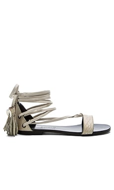 x Jacquie Aiche Daisy Sandal in Natural Suede Faux Python