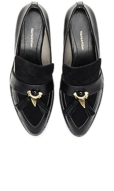 Camilla Shark Tooth Loafer in Suede Black
