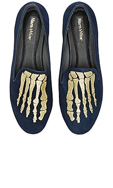 Jemma Jem Skull Slippers in Navy & Gold
