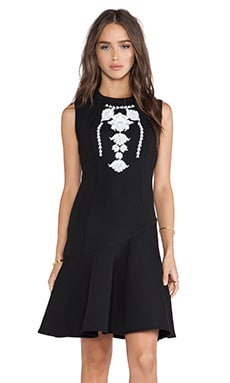 Marchesa Voyage Embroidered Tank Dress in Black